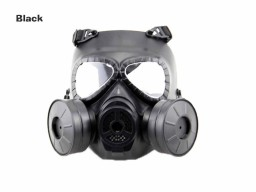 AOLS Gas Mask Two-pot With Adjustable Strap for Wargame and Airsoft Tactical Protective